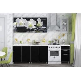 Кухня Орхидея белая/черное дерево 2,0м