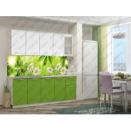 Кухня 2,0м МДФ без фотопечати (бел.-зел.)